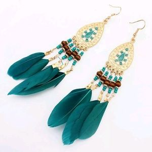 Teal blue feather medallion dangle earrings